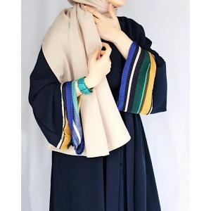 Dark Blue Line Detailed Abaya
