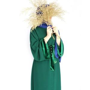 Emerald Green Velvet Detailed Abaya