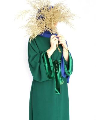 OUTLET Emerald Green Velvet Detailed Abaya