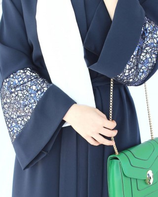 Dark Blue Net Detailed Abaya