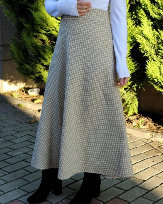 Beiege Woll Half Flared Skirt