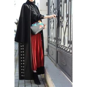 Birdeye Detailed Black Cashmere Abaya