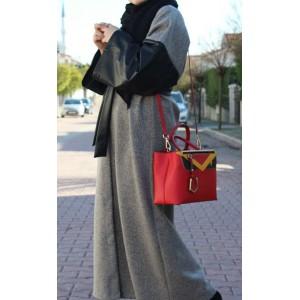 Leather Detailed Grey Sash Abaya