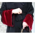 Bordo Kadife Detaylı Siyah Abaya