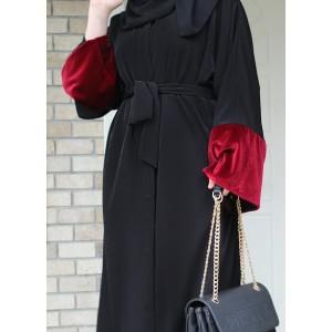 Dark Red Velvet Detailed Black Abaya