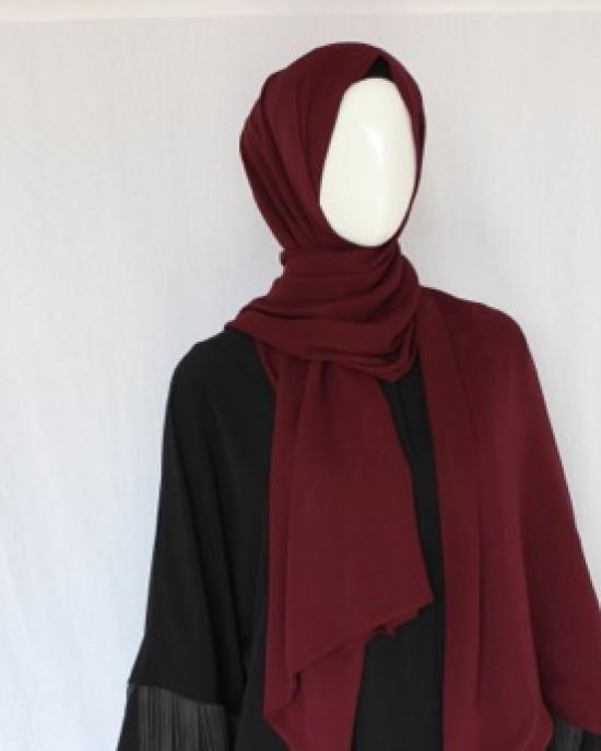 Dark Red Double Sided Chiffon Shawl