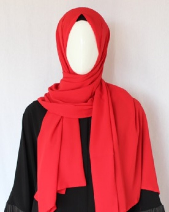 Red Double Sided Chiffon Shawl