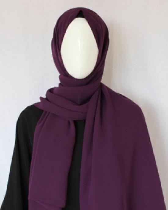 Purple Double Sided Chiffon Shawl