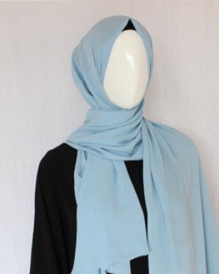 Baby Blue Double Sided Chiffon Shawl