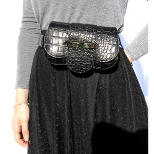 Black Croco Waist Bag