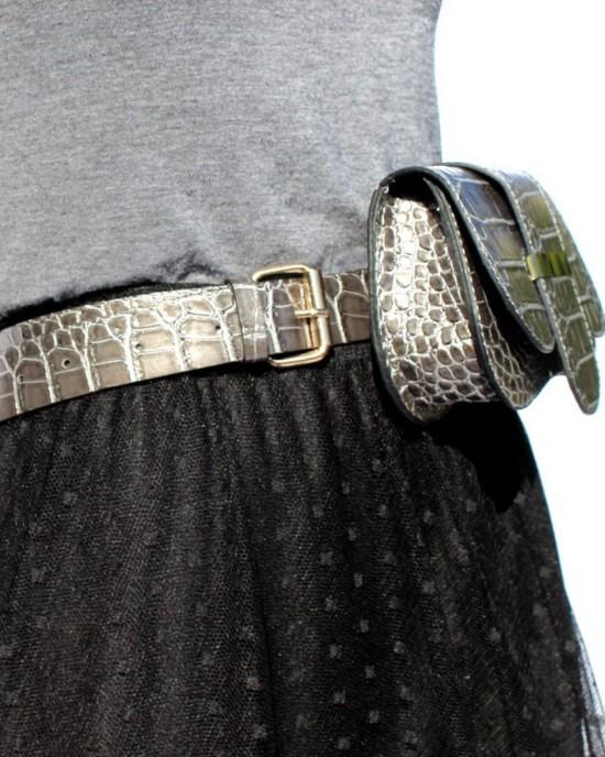 Grey Croco Waist Bag