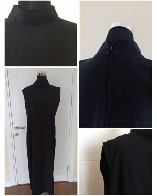 Siyah Sleeveless High Neck Dress