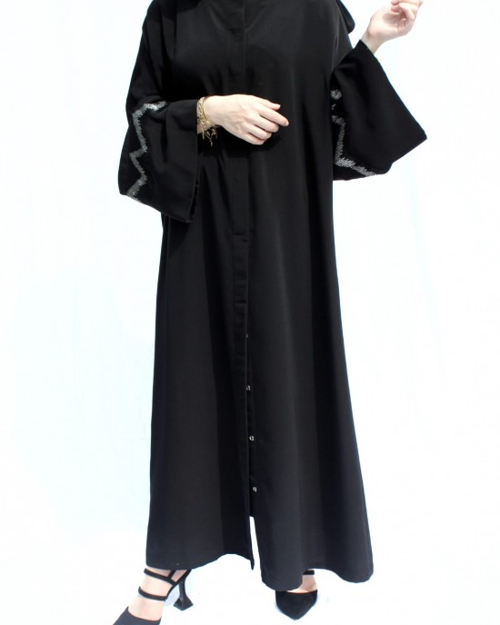 Black Organza and Fringe Detailed Abaya
