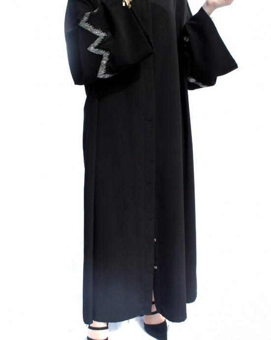 Black Zig-Zag Abaya