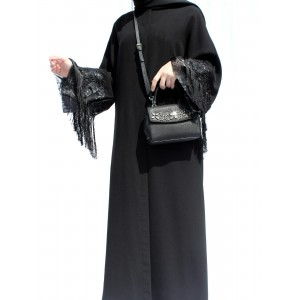 Black Organza and Fringe Detailed Abaya