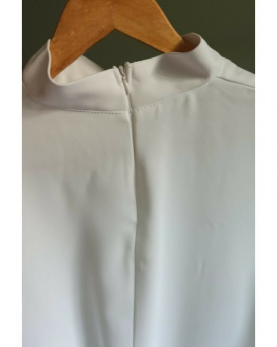 White Sleeveless High Neck Dress