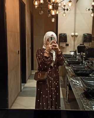 Brown Polka Dress