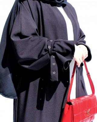 Laced Kimono Collar Abaya