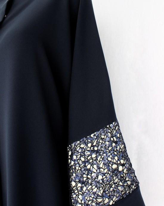 Dark Blue Net Detailed Abaya