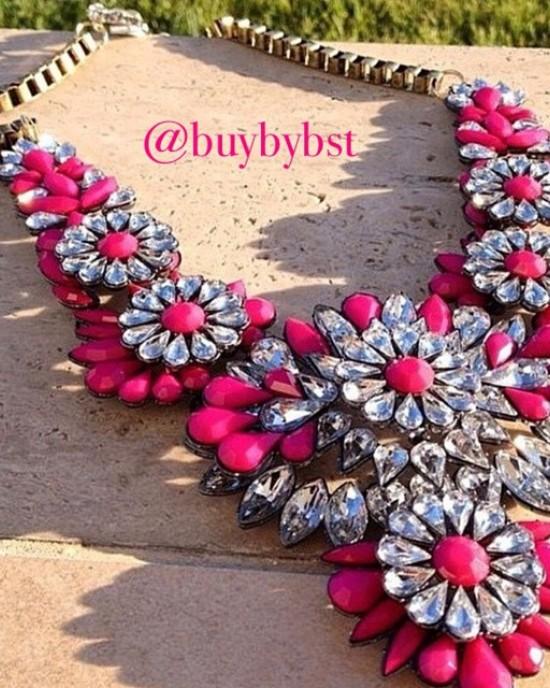 Fuchsia Rhinestone Flower Necklace